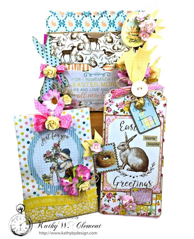 Shabby Chic Paper Bag Pocket Easter Card Eastertime by Kathy Clement for Really Reasonable Ribbon Product by Authentique Photo 05