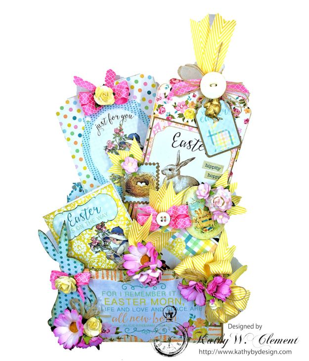 Shabby Chic Paper Bag Pocket Easter Card Eastertime by Kathy Clement for Really Reasonable Ribbon Product by Authentique Photo 02