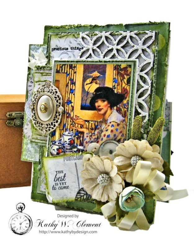 Tea Lover Vintage Style Birthday Card Wandering Ivy by Kathy Clement Product by Kaisercraft Photo 01