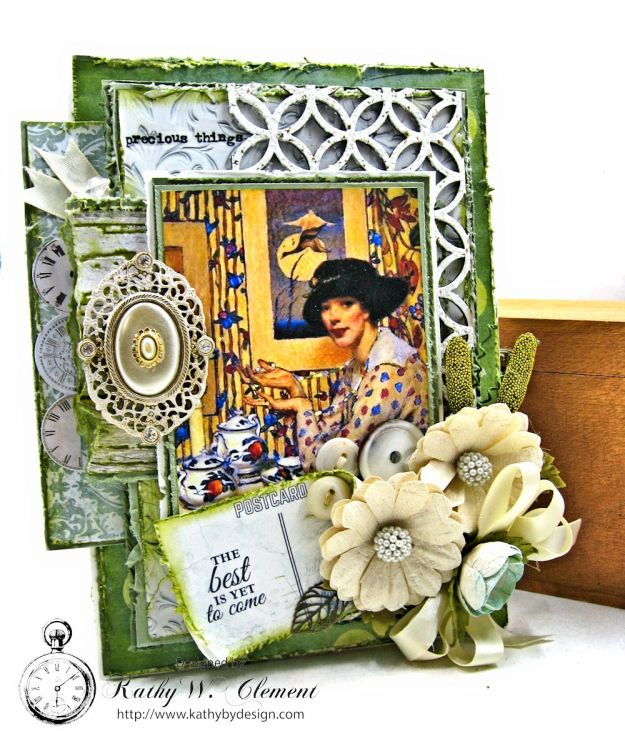 Tea Lover Vintage Style Birthday Card Wandering Ivy by Kathy Clement Product by Kaisercraft Photo 05