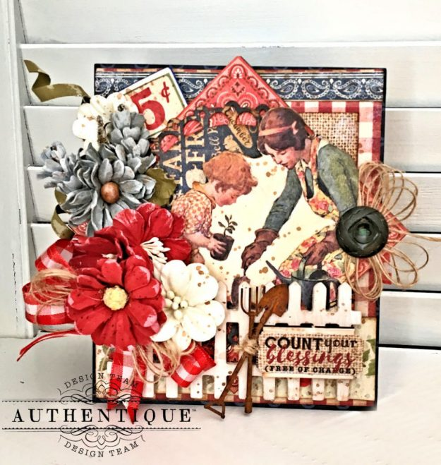 Country Blessings Folio Tutorial Frontier by Kathy Clement Product by Authentique Paper Photo 01