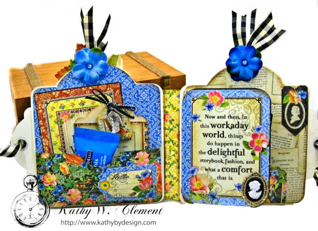 Little Women Square Tag and Clock Die Mini Folio Tutorial Little Women by Kathy Clement for Frilly and Funkie Product by Graphic 45 Photo 05