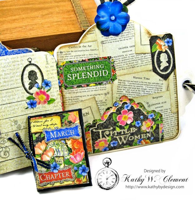 Little Women Square Tag and Clock Die Mini Folio Tutorial Little Women by Kathy Clement for Frilly and Funkie Product by Graphic 45 Photo 09