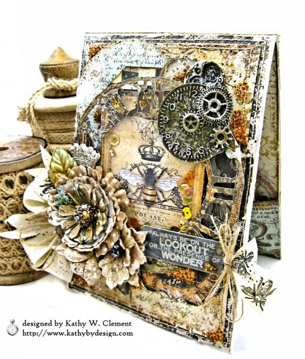 Mixed Media Honeybee All Occasion Shaker Card Alchemy by Kathy Clement Product by Stamperia Photo 02