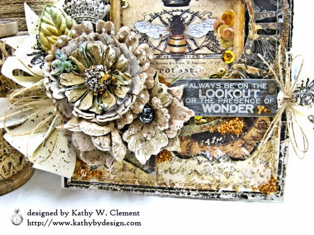 Mixed Media Honeybee All Occasion Shaker Card Alchemy by Kathy Clement Product by Stamperia Photo 04