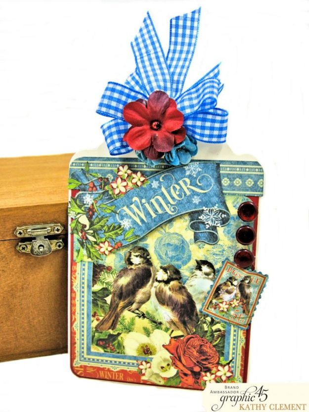 Graphic 45 Seasons Altered Mini Crate and Tags by Kathy Clement Photo 09
