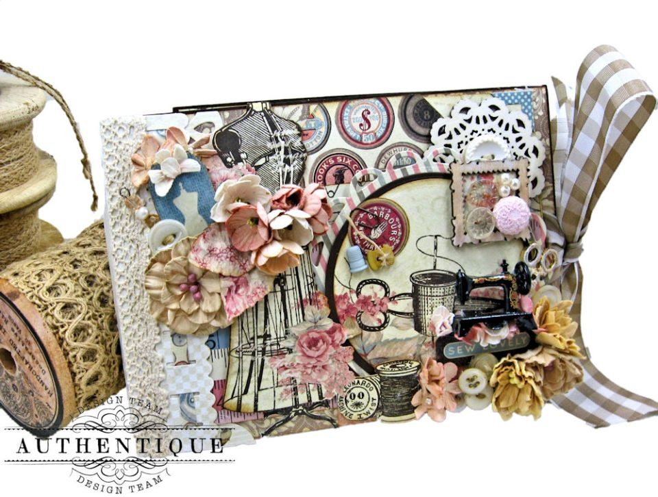 Stitched with Love Flip Folio Stitches by Kathy Clement Product by Authentique Paper Photo 1
