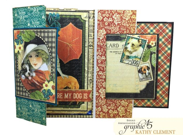 Graphic 45 Raining Cats and Dogs Photo Folio Tutorial by Kathy Clement for Really Reasonable Ribbon Photo 04