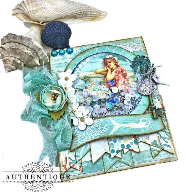 Be Mermazing Mermaid Shaker Card Sea Maiden by Kathy Clement Product by Authentique Photo 02