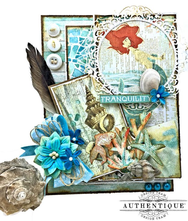 Sea of Tranquility Card Folio Tutorial Sea Maiden by Kathy Clement Product by Authentique Photo 01