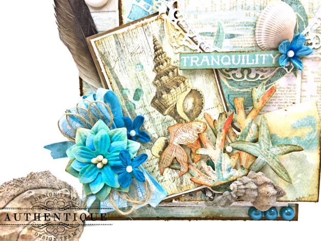 Sea of Tranquility Card Folio Tutorial Sea Maiden by Kathy Clement Product by Authentique Photo 03