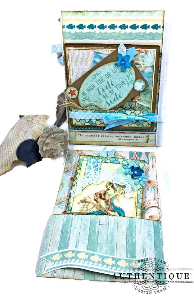 Sea of Tranquility Card Folio Tutorial Sea Maiden by Kathy Clement Product by Authentique Photo 04
