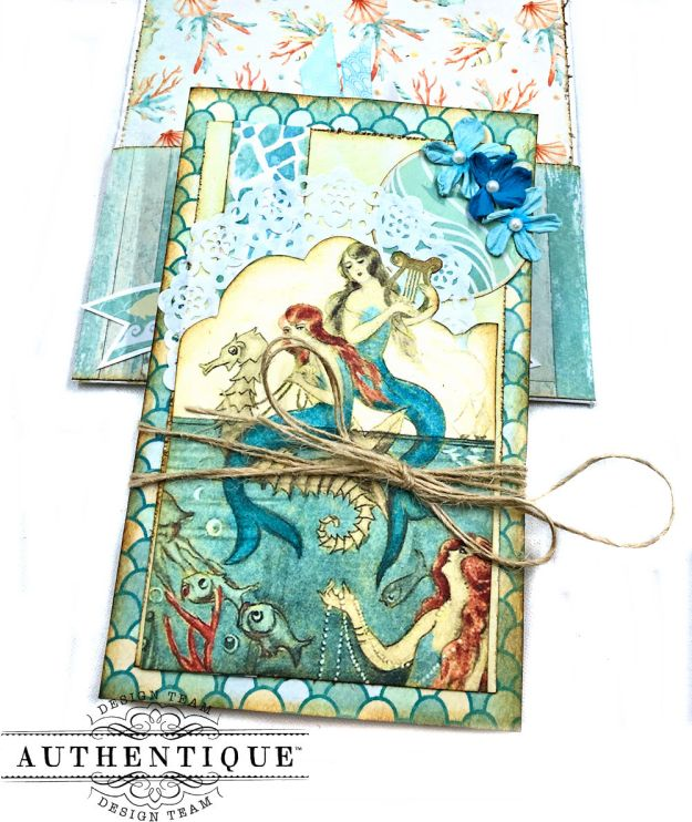 Sea of Tranquility Card Folio Tutorial Sea Maiden by Kathy Clement Product by Authentique Photo 05