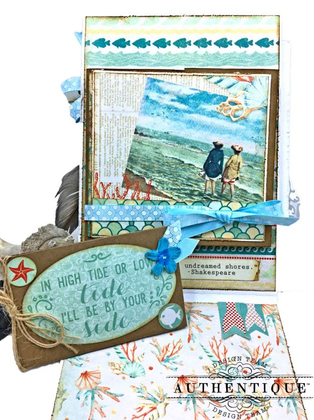 Sea of Tranquility Card Folio Tutorial Sea Maiden by Kathy Clement Product by Authentique Photo 07