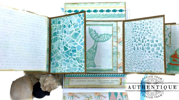 Sea of Tranquility Card Folio Tutorial Sea Maiden by Kathy Clement Product by Authentique Photo 10