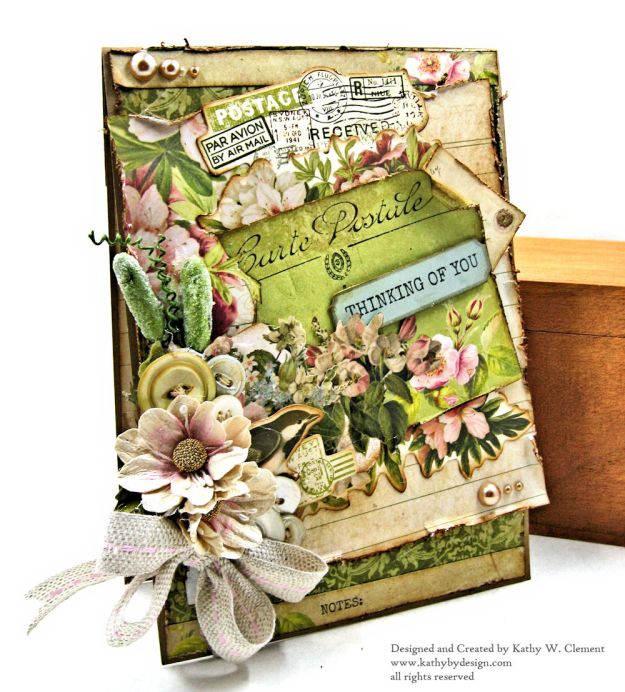 Soft and Shabby Thinking of You Card Cherry Tree Lane by Kathy Clement for Really Reasonable Ribbon Product by Kaisercraft Photo 03