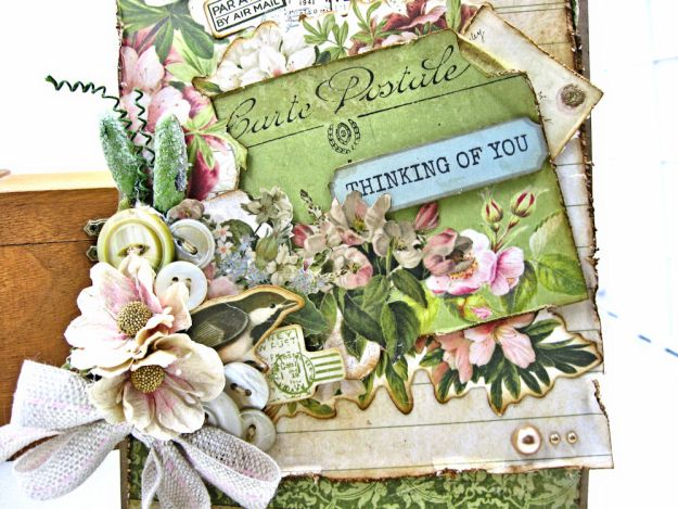 Soft and Shabby Thinking of You Card Cherry Tree Lane by Kathy Clement for Really Reasonable Ribbon Product by Kaisercraft Photo 04
