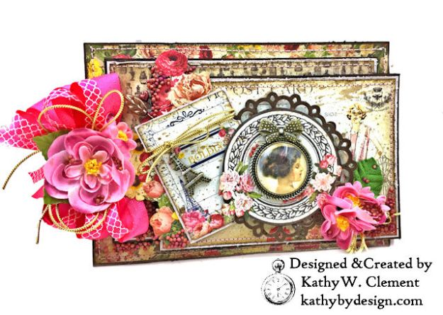 Dame Pretty Pink Parisian Card Dame by Kathy Clement for Really Reasonable Ribbon Product by Authentique Photo 01