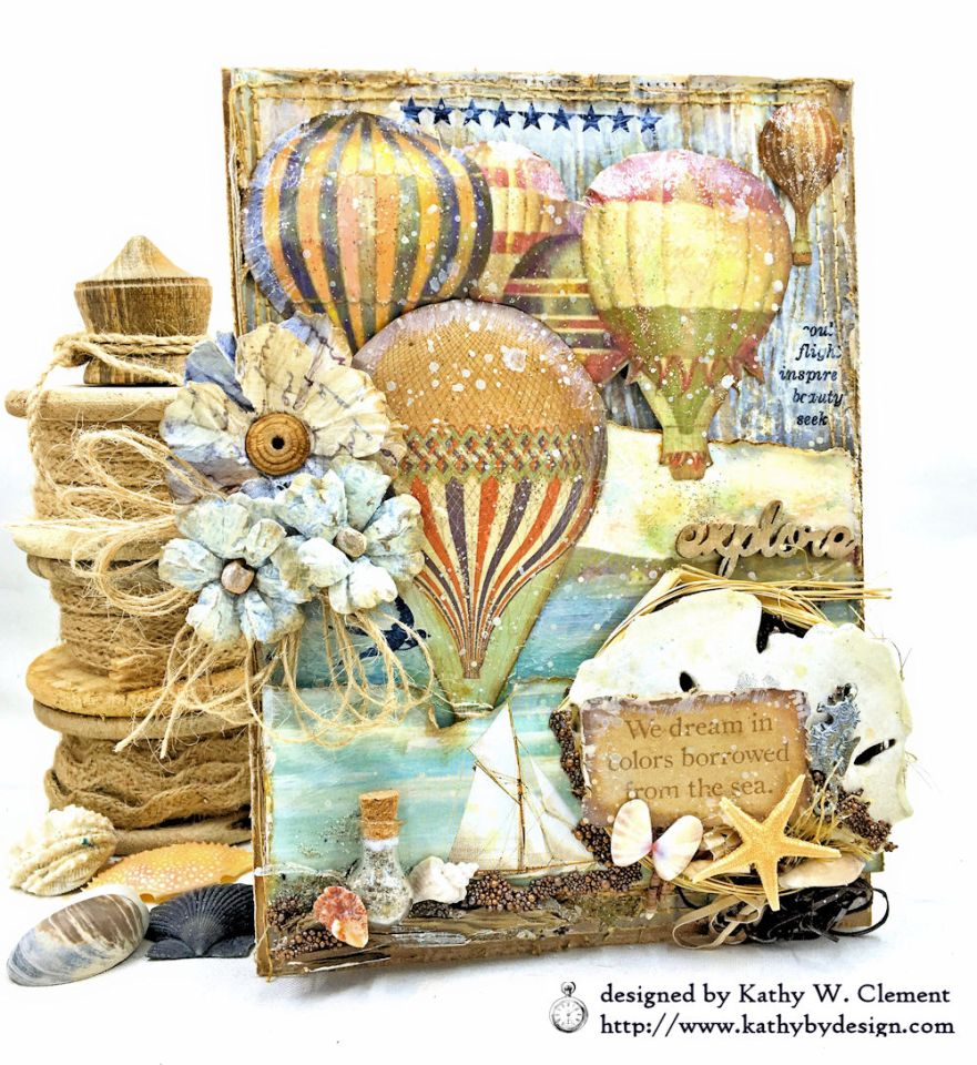 Sea Dreams Mixed Media Card Sea Land by Kathy Clement Product by Stamperia Photo 01