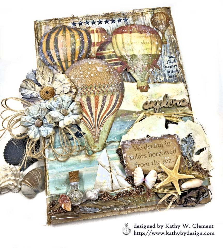 Sea Dreams Mixed Media Card Sea Land by Kathy Clement Product by Stamperia Photo 06