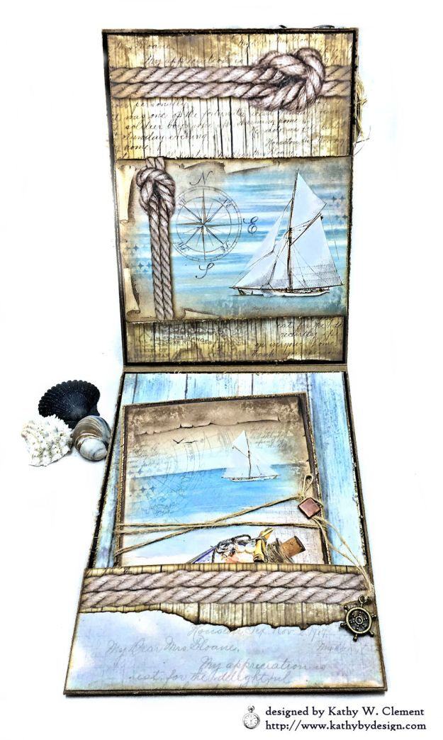 Sea Dreams Mixed Media Card Sea Land by Kathy Clement Product by Stamperia Photo 07