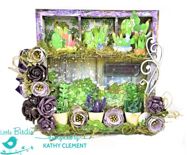 Succulent Garden Shadow Box Tutorial Succulent Garden by Kathy Clement Product by Little Birdie Crafts Photo 03