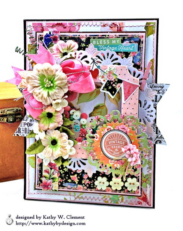Photoplay Vintage Girl Floral Shaker Card by Kathy Clement for Really Reasonable Ribbon Photo 01