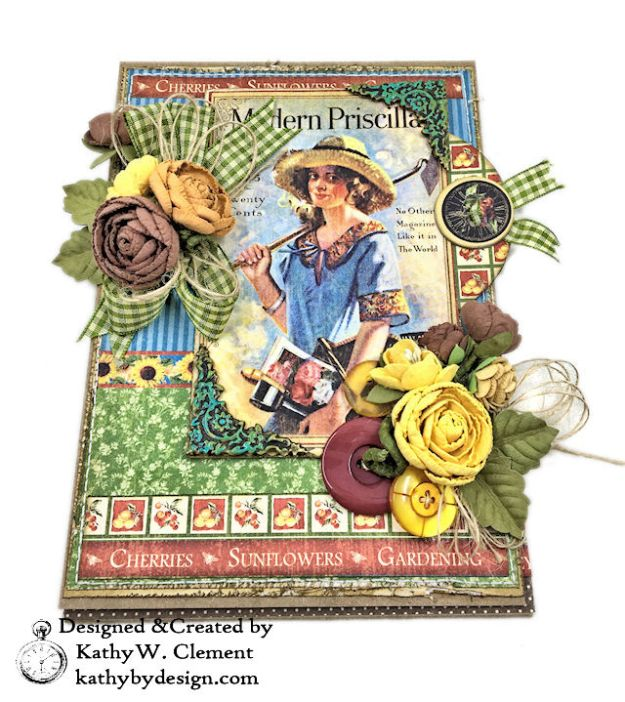 Graphic 45 Place in Time Garden Themed Birthday Card Tutorial by Kathy Clement Photo 04