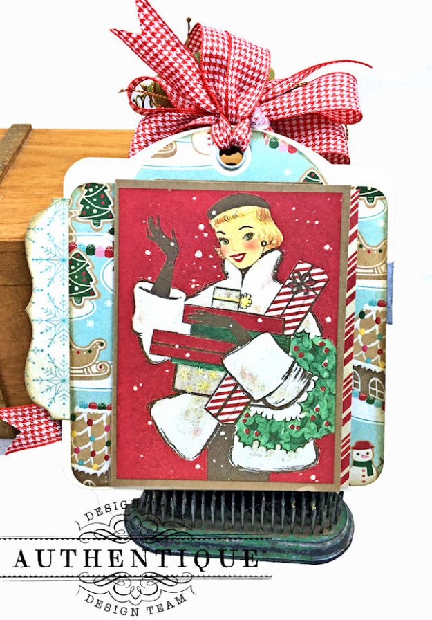 Authentique Jingle Gift Card Ornament Tags Video Tutorial by Kathy Clement Photo 09
