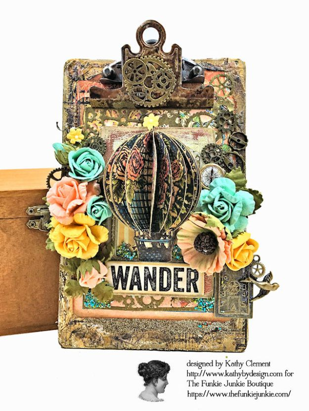 Graphic 45 Imagine Hot Air Balloon Embellishment Tutorial and Tim Holtz Altered Mini Clipboard by Kathy Clement for the Funkie Junkie Boutique Photo 01