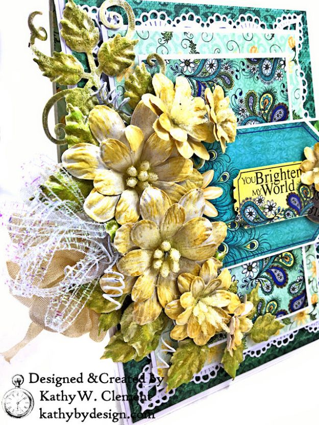 Heartfelt Creations Delightful Daisies Peacock Paisley Card Folio by Kathy Clement Photo 04