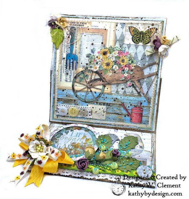 Stamperia Life Began in a Garden Easel Card Garden by Kathy Clement for Really Reasonable Ribbon Product Photo 01