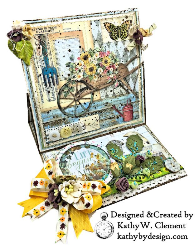 Stamperia Life Began in a Garden Easel Card Garden by Kathy Clement for Really Reasonable Ribbon Product Photo 04