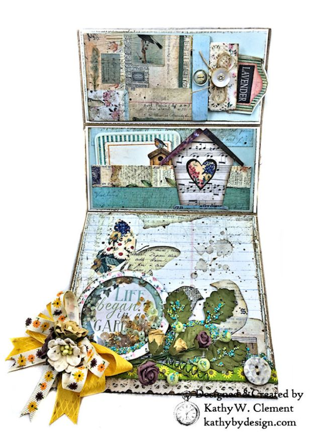 Stamperia Life Began in a Garden Easel Card Garden by Kathy Clement for Really Reasonable Ribbon Product Photo 05