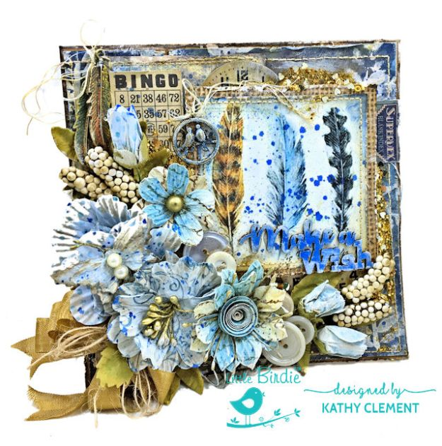 Make a Wish Mixed Media Birthday Card by Kathy Clement for Little Birdie Crafts Photo 01