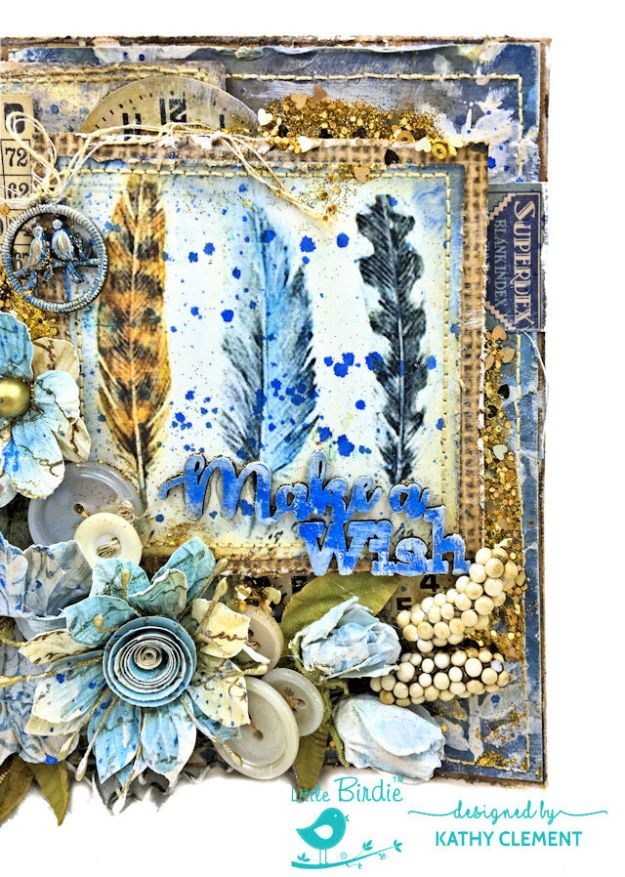 Make a Wish Mixed Media Birthday Card by Kathy Clement for Little Birdie Crafts Photo 04