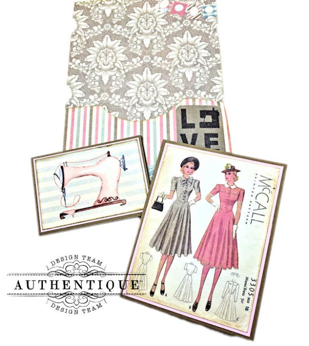 Authentique Stitches Collection Meets Card Maps Sewing Themed Greeting Card by Kathy Clement Product by Authentique Photo 05