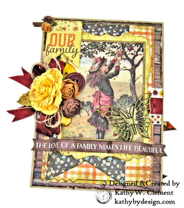 Apple Picking Birthday Card Folio Pleasant by Kathy Clement for Really Reasonable Ribbon Product by Authentique Photo 03
