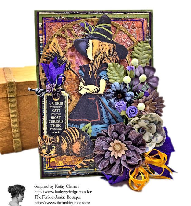 Graphic 45 Halloween in Wonderland Mixed Media Cards Tutorial by Kathy Clement for The Funkie Junkie Boutique Photo 02
