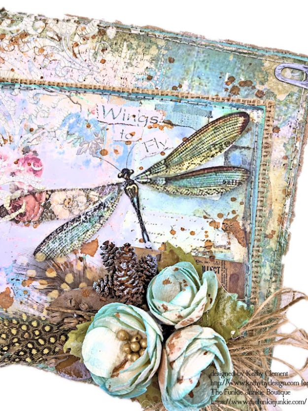 Dragonfly Days Pocket and Tag Folio Tutorial Wonderland by Kathy Clement for the Funkie Junkie Boutique Product by Stamperia Photo 05