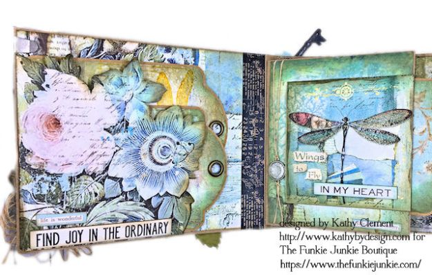 Dragonfly Days Pocket and Tag Folio Tutorial Wonderland by Kathy Clement for the Funkie Junkie Boutique Product by Stamperia Photo 07