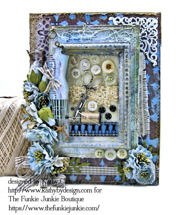 Stamperia Atelier Sewing Themed Folio with Tutorial by Kathy Clement for the Funkie Junkie Boutique Photo 01