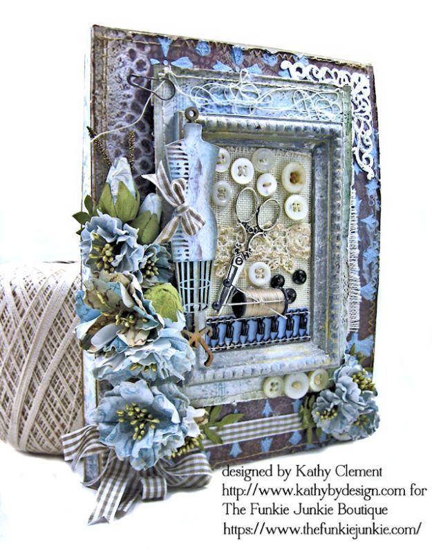 Stamperia Atelier Sewing Themed Folio with Tutorial by Kathy Clement for the Funkie Junkie Boutique Photo 03