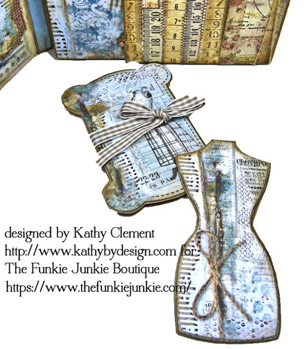 Stamperia Atelier Sewing Themed Folio with Tutorial by Kathy Clement for the Funkie Junkie Boutique Photo 07