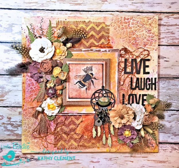 Sweet Life Mixed Media Canvas Tutorial by Kathy Clement for Little Birdie Crafts Photo 02