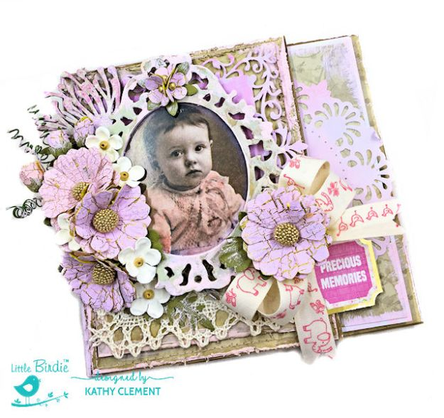 Little Birdie Crafts Vintage Style Baby Girl Folio Tutorial by Kathy Clement Photo 01