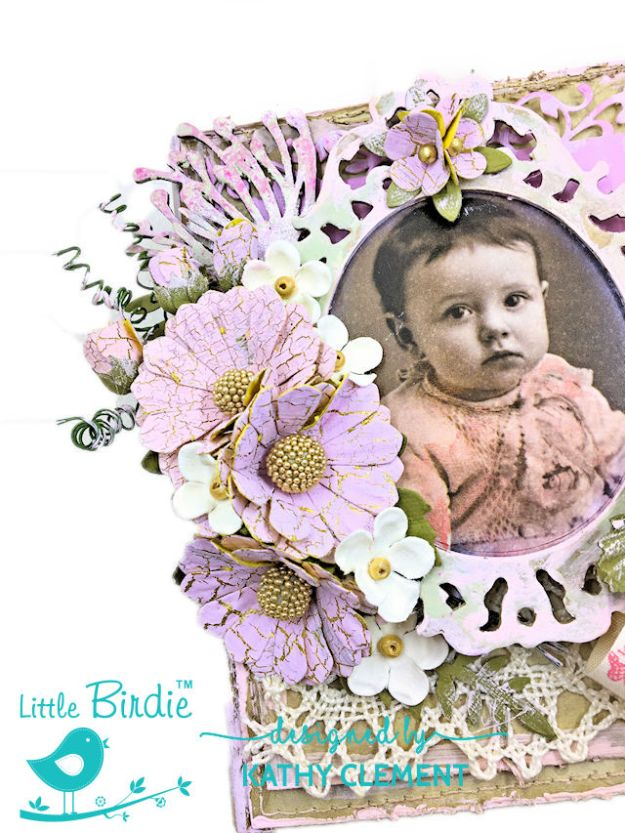 Little Birdie Crafts Vintage Style Baby Girl Folio Tutorial by Kathy Clement Photo 02