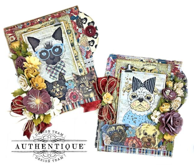 Authentique Companions Furry Friends Card Folio Tutorial by Kathy Clement Photo 01
