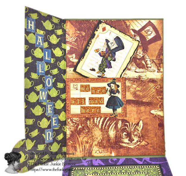 Graphic 45 Halloween in Wonderland Mixed Media Cards Tutorial by Kathy Clement for The Funkie Junkie Boutique Photo 09