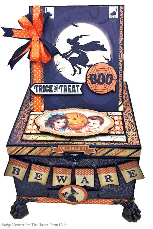 Authentique Nightfall Halloween Treat Box Mini Album Kit by Kathy Clement for Button Farm Club Photo 02